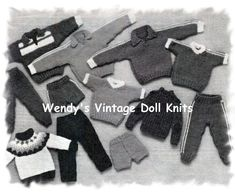 12 Inch Doll Clothes, Boy Doll Clothes, Barbie Clothes Patterns, Clothing Patterns, Army Clothes, Tracksuit Tops, Finger Knitting, Short Socks, Cute Pattern