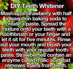 DIY Teeth Whitener using strawberries