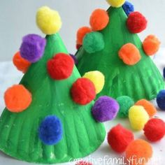 Children's homemade Christmas trees
