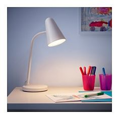 IKEA - FUBBLA, LED work lamp, white, Perfect lighting for doing crafts, drawing or building since you can direct the light where you like. Nursery Lighting, Kids Lighting, Micke Desk, Ikea Canada, Teen Desk, Work Lamp, Paint Shades, Led Lampe, Montage