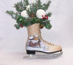 Ice Skate Horse Sleigh Hand Painted Primitive Folk Art Floral Snowballs RJPE in Antiques, Primitives | eBay