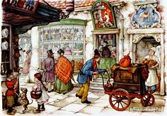 Outside the Bakery - Anton Pieck, Dutch painter, artist and graphic artist.