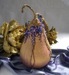 Silk pincushion pear with wisteria embroidery and crystals on silk