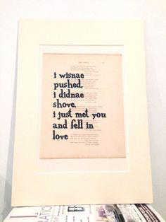 I Wisnae Pushed, I Didnae Shove - Scottish Love Print …                                                                                                                                                                                 More