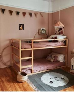 35 Fascinating Shared Kids Room Design Ideas - Planning a kid's bedroom design can be a lot of fun. Ikea Kura Hack, Ikea Kura Bed, Ikea Hacks, Kura Bed Hack, Roll Out Bed, Bunk Bed Designs, Kids Bunk Beds, Wooden Bunk Beds, Painted Bunk Beds