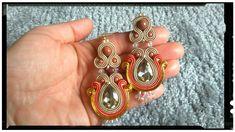 Big soutache earrings with gold