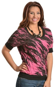 Rock & Roll Cowgirl Black & Pink Feather Print Rhinestud Embellished Top available at #Sheplers