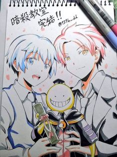 nagisa, koro-sensei and karma! This art is great! Film Manga, Manga Anime, Anime Art, Karma Kun, Nagisa And Karma, Koro Sensei Quest, Cool Animes, Chibi, Nagisa Shiota