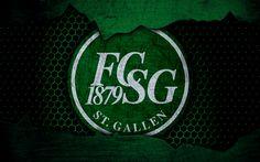 Download wallpapers FC Sankt Gallen, 4k, logo, Swiss Super League, soccer, football club, Switzerland, grunge, metal texture, Sankt Gallen FC