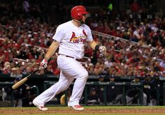 St. Louis Cardinals' Matt Adams watches his RBI-single during the seventh inning of a baseball game against the Milwaukee Brewers, Wednesday, Sept. 17, 2014, in St. Louis. (AP Photo/Jeff Roberson)Cards win 2-0 over Brewers
