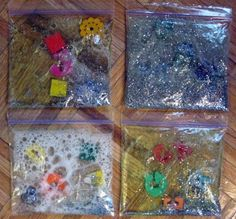 This morning Grace, Jack, and I gathered a variety of materials in order to make squishy bags. To make these bags we squeezed some shampoo . Activities For Kids, Crafts For Kids, Diy Crafts, Preschool Ideas, Craft Ideas, Gold Door, Sensory Bags, Classroom Community, Classroom Fun