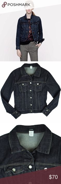 """JCrew Darkwash Blue Denim Jeans Jacket Mint as new condition. This dark blue wash denim jeans jacket from JCrew features front pockets and button closures. Measures: Bust: 34"""", Total Length: 21"""", Sleeves: 24"""" J. Crew Jackets & Coats Jean Jackets"""