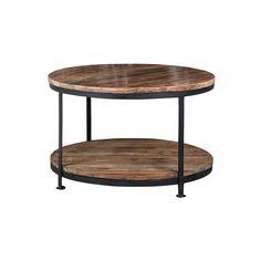 Ronde salontafel met onderblad; gemaakt van zwart staal en mangohout. De doorsnede van de tafel is 74cm.