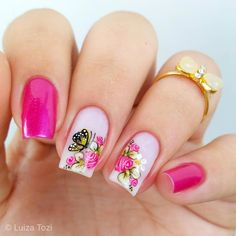 Perfect Colorful Floral Nail Design – 4 It's your turn to have great nails! Check out this year's most … Great Nails, Perfect Nails, Cute Nails, Romantic Nails, Butterfly Nail, Nail Arts, Spring Nails, Pedicure, Nail Art Designs