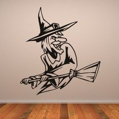 Animated Witch Halloween Wall Decal Wall Art Sticker