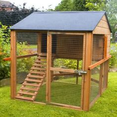 Nice chicken coop. Making the stairs a ramp and one the retracts as a door to shut off predators from entering the main frame. BIG??
