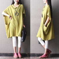Women plue size cotton linen top - Tkdress  - 1