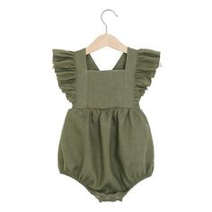 Olive Linen Vintage Romper, baby linen romper, toddler linen romper This vintage romper is made of medium weight prewashed pure linen fabric. Features sleeve ruffles, elastics at leg, back wih wooden buttons Outfits Niños, Kids Outfits, Winter Outfits, Spring Outfits, Winter Clothes, Baby Girl Outfits, Newborn Outfits, Baby Girl Fashion, Fashion Kids