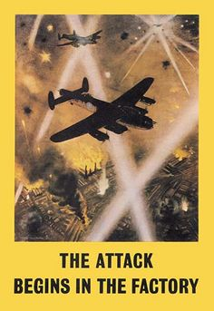 The Attack Begins in the Factory by Roy Nockolds - Art Print The Attack Begins in the Factory by Roy Nockolds - Art Print Unknown Date/Britain #FightingAircraft