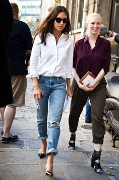 Capucine Safyurtlu // Black sunglasses, white button down shirt, ripped boyfriend jeans & cap toe kitten heels #style #fashion #streetstyle
