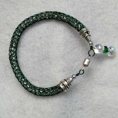 Viking Knit bracelet, emerald green chain, $24