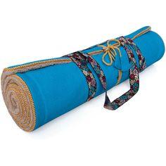 Holistic Silk Yoga Rug Mat - Aqua (3.455.060 IDR) ❤ liked on Polyvore featuring blue