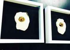 Framed Gold Plated Fried Egg | Ceramic | Home Decor | Wall Art | Fine Art | Contemporary Art | Minimalist | Feminist | Modern Art | Gold | by DesignerArtsLife on Etsy