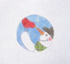 18 or 13 Mesh Snowman Red Bird Pecking at Carrot Handpainted Needlepoint Canvas #Handmade