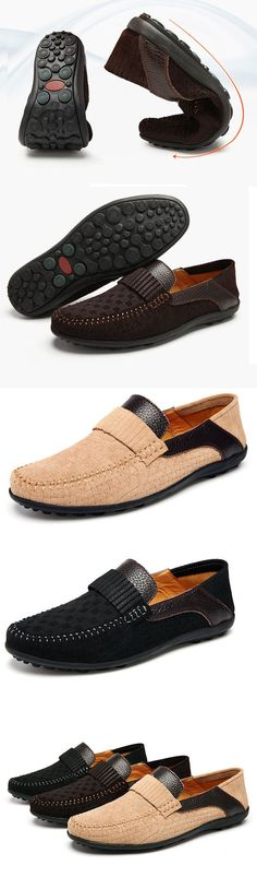 Men Woven Suede Splicing Doug Shoes Flat Slip On Casual Loafers