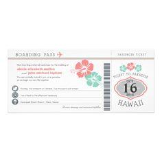 Hawaii Hibiscus Boarding Pass Wedding Invite