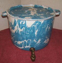 Vintage-Rare-Enamelware-Graniteware-Large-Blue-Swirl-Pot-with-Brass-Spigot-Lid