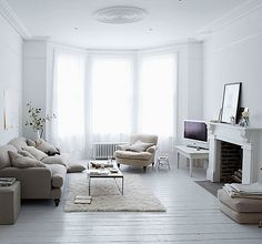 white living space #fireplace
