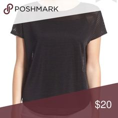 Trouve Sheer Strip Top Black Short Sleeve Trouve Sheer Strip Top Black Short Sleeve. This sheer top features a crewneck with cap sleeves and a v neck back and a split back hem. Perfect for a night out! In good condition. Machine wash cold, dry flat. 97% Polyester, 3% Spandex Trouve Tops Blouses
