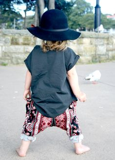 Little Miss W aka baby boho, admiring the seagulls at watsons bay, Sydney,  in her amazing Feather Drum pieces