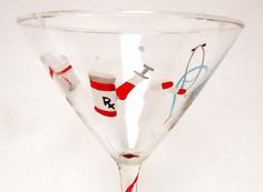 Hand-painted nurse martini glass