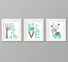 Grey and teal Nursery Art Print Set, Kids Room Decor, Children Wall Art - Tree, love, baby elephant, aqua, gray, teal on Etsy, $39.95