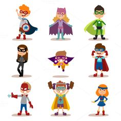 Illustration of Superhero kids boys and girls cartoon vector illustration. Super hero kids playing, fly, Super kids in action. Superkids flying, success people concept vector art, clipart and stock vectors.