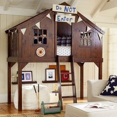"""I love the Pottery Barn Kids Tree Fort Bedroom! This will be the type pf """"forest"""" room Ben has been talking about! Pottery Barn Kids, Treehouse Loft Bed, Playhouse Bed, Indoor Playhouse, Playhouse Plans, House Beds, Grandma's House, My New Room, Play Houses"""