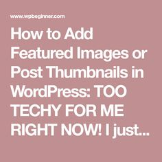 How to Add Featured Images or Post Thumbnails in WordPress: TOO TECHY FOR ME RIGHT NOW! I just want thumbnail images next to the summary text on my blog homepage... Could be a job for a People Per Hour bod...