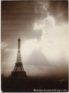 Gabriel Loppé obsessed about the Eiffel Tower, photographing it in all sorts of light, at all times around the clock:  Gabriel Loppé: La Tour Eiffel dans le soleil couchant, ca. 1889 - aristotype (épreuve au citrate) à partir d'un négatif verre au...