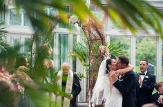 Palm House wedding (Brooklyn Botanic Garden)  shot by Sarah Tew Photography http://www.sarahtewphotography  featured on Pretty Brass Tacks: http://prettybrasstacks.com/jessica-stephen-brooklyn-botanic-garden-wedding/