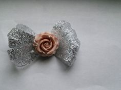 Glitter Bow with Rose Center by OhYarnKnit on Etsy
