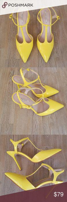 Zara Yellow Neon Heels Excellent condition. Size 38 Zara Shoes Heels
