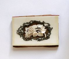 Antique French Carved Ivory & Sterling Carnet de Bal / Dance Card, Necessaire, Silk Moire Fabric Interior Pre-Ban Victorian