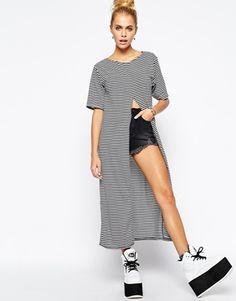The Ragged Priest Stripe Print Slice Maxi T-Shirt Dress