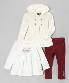 Another great find on #zulily! Cream Coat Set - Infant, Toddler & Girls by Calvin Klein Jeans #zulilyfinds