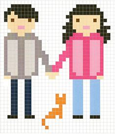 Couple with cat chart for cross stitch, knitting, knotting, beading, weaving, pixel art, and other crafting projects.