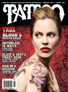 Kristin Bauer's colorful flower body art by Tattoo Artist Kirk Alley has made it to the cover of Tattoo Magazine.