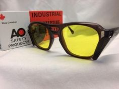 e2ef2f884f Authentic Vtg New Old Stock Custom American Optical Sunglasses Brown Yellow