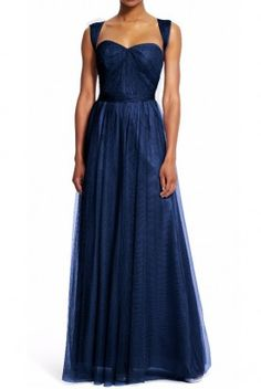 Adrianna Papell Bridesmaid Convertible Tulle Gown in Navy Blue